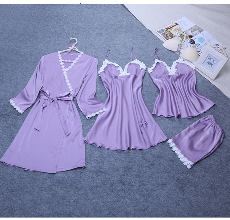 4 Pieces Ladies Sexy Silk Satin Sleepwear Set Include Robe+Nightdress+Top+Pant Lace Nightwear Summer Homewear For Women