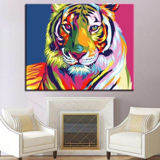Bingkai Diy Iridescence Tiger Minyak Lukisan Bunga Dinding Seni