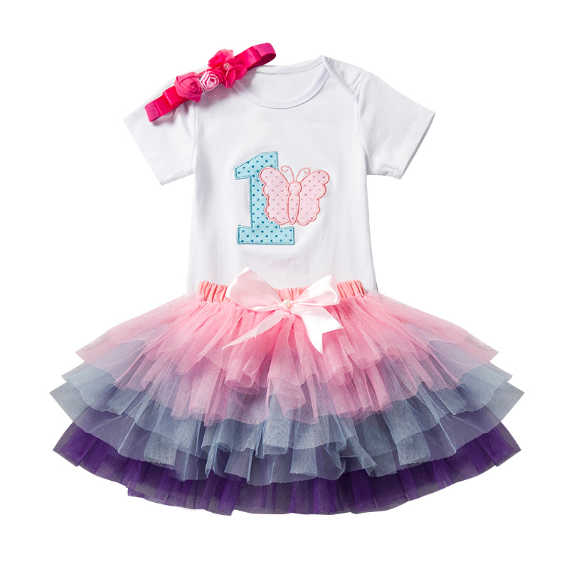 1 Year Tutu Baby Girl Clothing Sets Infant Romper+Tulle Skirt+Headband Kids Party Costume Bebes One Birthday Outfits Vestidos new baby girl clothing sets lace tutu romper dress jumpersuit headband 2pcs set bebes infant 1st birthday superman costumes 0 2t