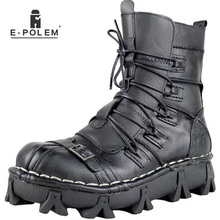 цена на Winter Warm Fashion Men's Black Fashion Shoes Boots Lace Up Warm Leather Mid-Calf Motorcycle shoes