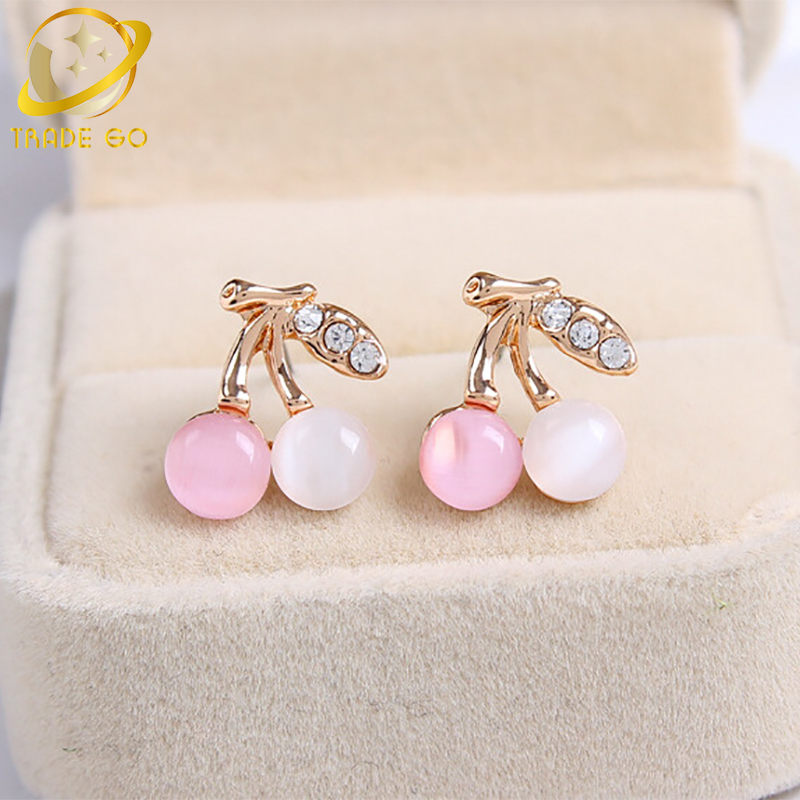 Korean Opal Earrings For Women Fashion Jewelry Aros Brincos Boucle D'oreille Cute Cherry Rhinestone Stud Earing Orecchini
