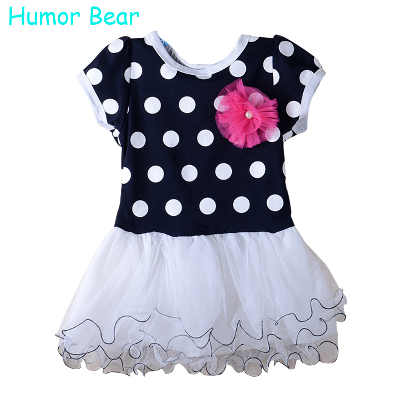Humor Bear Summer Girls Clothes Dark Blue And Pink Short Sleeve Dots Stripe Flower Kids Girls Fashion Dresses Girl Dress vik max adult kids dark blue leather figure skate shoes with aluminium alloy frame and stainless steel ice blade
