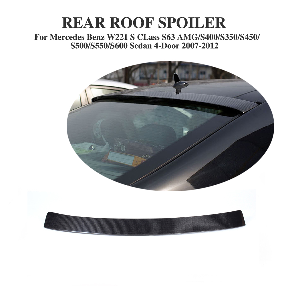 Carbon Fiber Rear Roof Spoiler Lip for Mercedes Benz S CLass W221 S63 AMG Sedan 4-Door 2007-2012 Car Styling mercedes carbon fiber trunk amg style spoiler fit for benz e class w207 2 door 2010 2015 coupe convertible vehicles