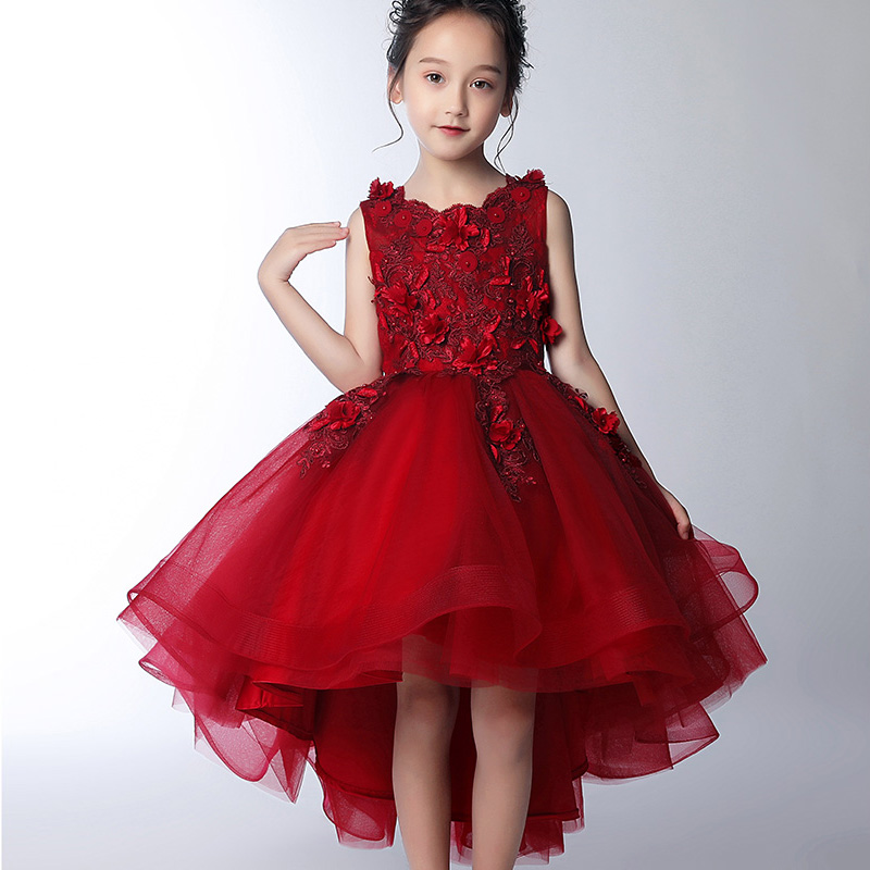 Flower Girl Party High-end Wedding Wine And Red Dress Girl's Birthday Party Graduation Party First Eucharist Dress Vestido