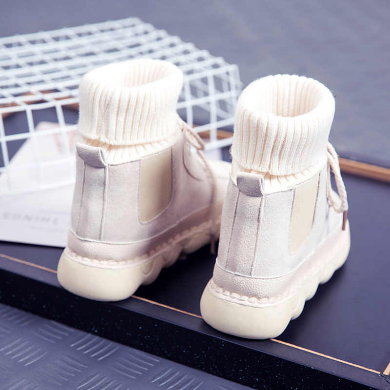 LZJ Autunno e di Inverno delle Donne di Alta Top Stivali Nabuk Stivali di Più di Velluto Caldo Casual Sneakers Punta Rotonda Lace-Up studente Stivali Piatti