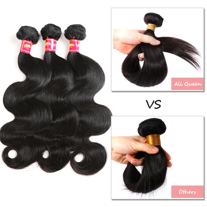 Ali Queen Hair Products Brazilian Hair Body Wave Bundles 100% Human - Mänskligt hår (svart) - Foto 4