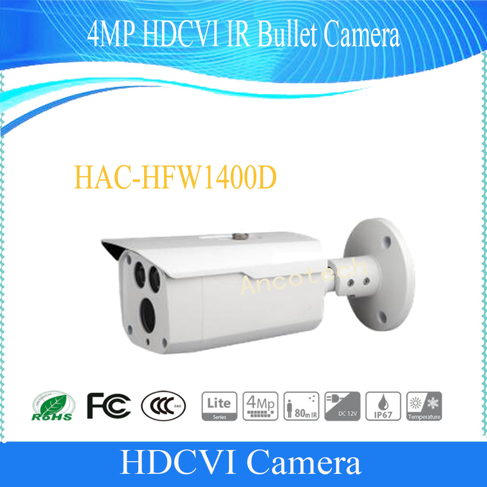 Free Shipping DAHUA HAC-HFW1400D CCTV Camera 4MP HDCVI IR Bullet Camera IP67 without Logo free shipping dahua cctv outdoor camera 2mp hdcvi ir bullet camera ip67 without logo hac hfw1220r vf ire6