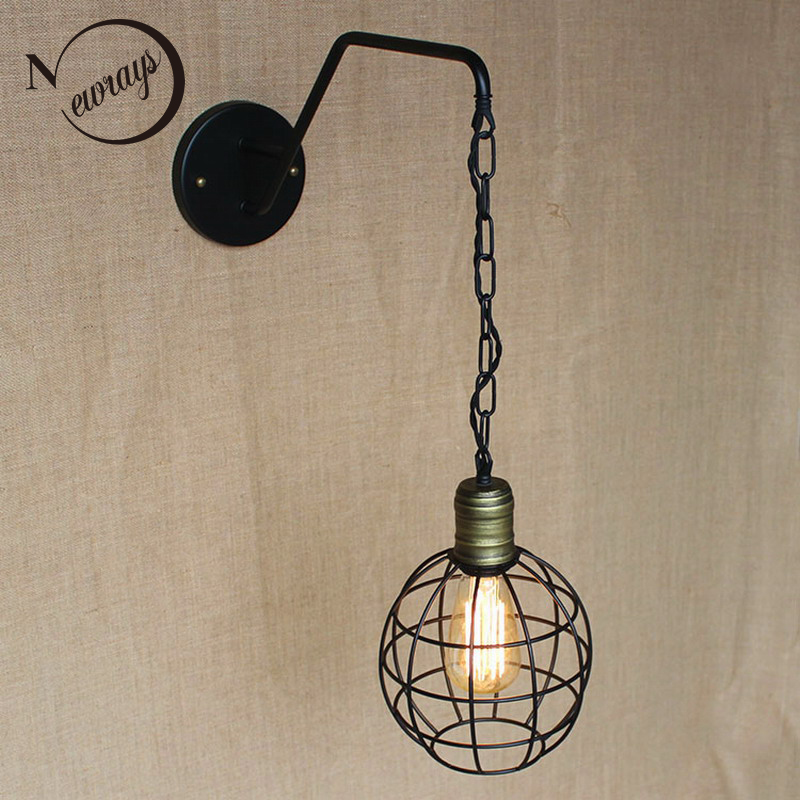 new design antique retro black metal ball wall lamps with long chain for workroom bedside bedroom wall Lights 4pcs new for ball uff bes m18mg noc80b s04g