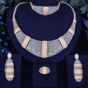 Luxury Wedding  Cubic Zirconia Necklace 4PCS Set