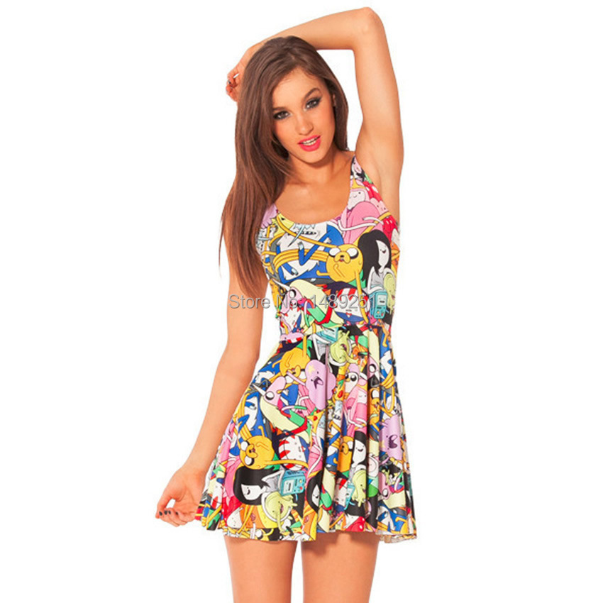Fashion Women Clothing Sexy Pleated Dress Adventure Time -9815