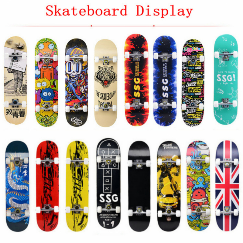 "31 ""Aikuiset & lapset Maple Complete Skateboard Skate Board Double Rocker rullalauta High Speed ​​Drift rullalauta"