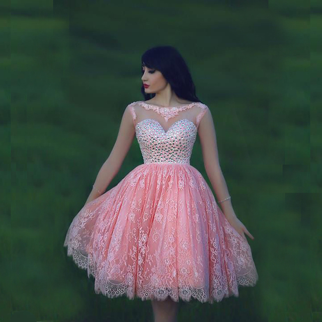 Nice Pretty Pink Lace Short Prom Dresses With Long Sheer Sleeve Sexy
