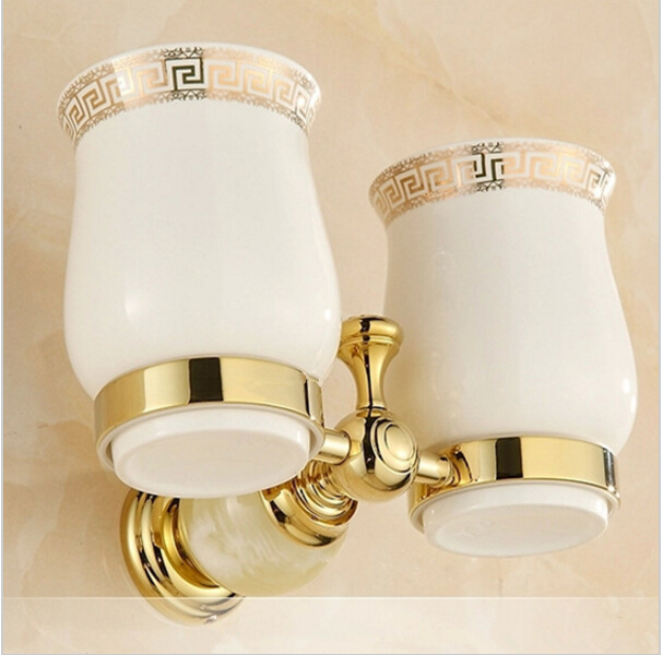 European Style Double Cup Holder Toothbrush Holder with Ceramic Cups Antique Brass Solid Brass Rack Tumbler Holder Wall Mounted new arrival flower carved bath deck mount toothbrush holder single ceramic cup with metal holder tumbler holder