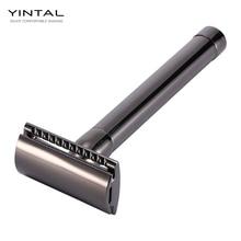 цена на YINTAL New Stainless Steel Men's Manual Double Edge Razor Safety Razor Classic Manual Metal Handle Blades Shaver Gun-Black