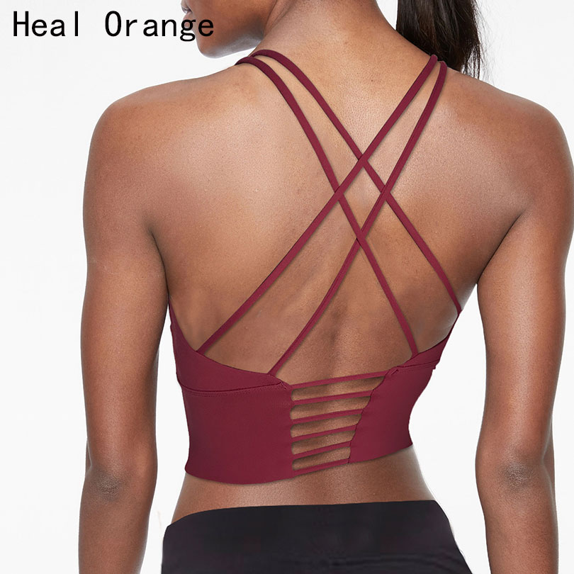 Heal Orange Vest Beauty Back Sports Bra Top Shock-Proof Gathering