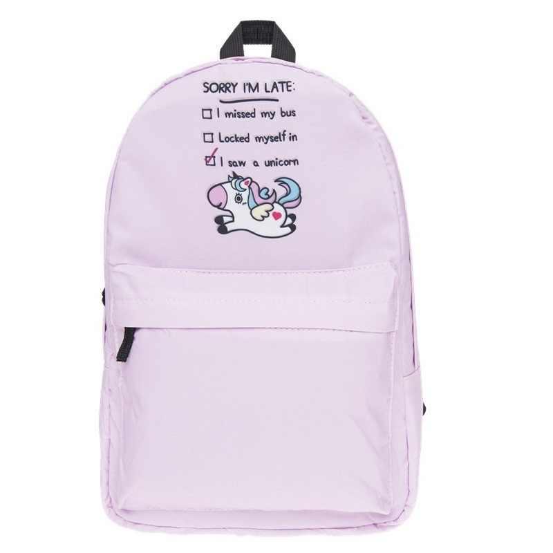 Meisje mode schooltas Roze groen eenhoorn print patroon vrouwen casual rugzak tieners schooltassen meisjes tassen school rugzak