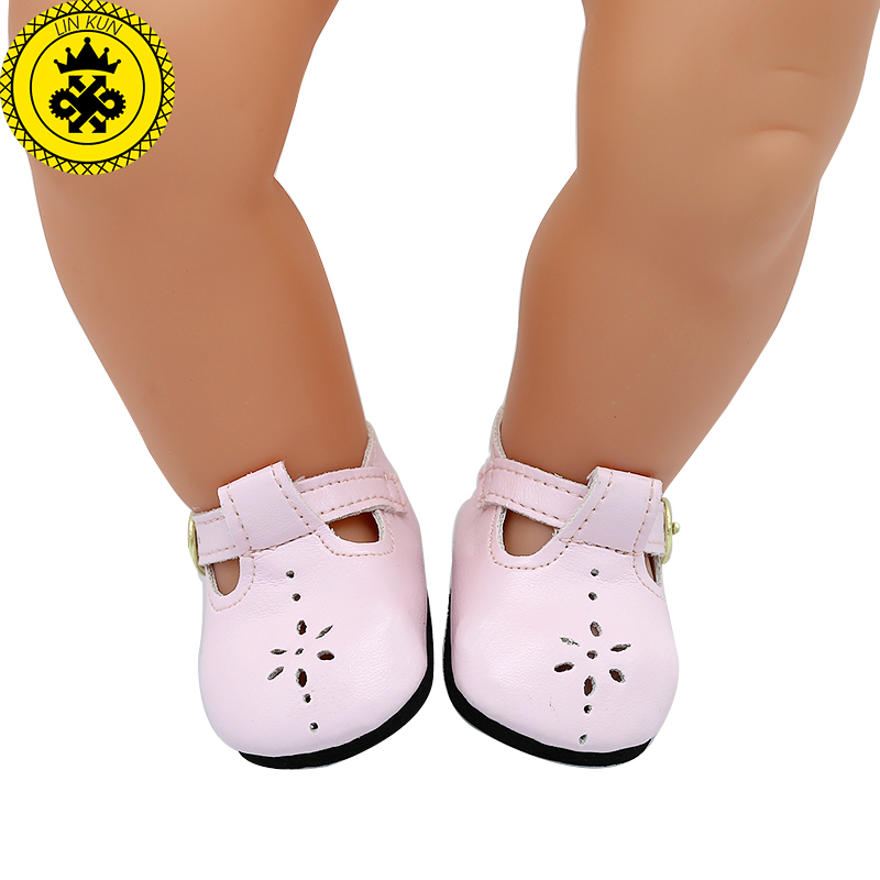 Baby Doll Shoes Pink Leather Shoes Fit 43cm  Baby Doll Accessories Girl Gift Xie576