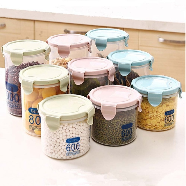 HearTogether 3pcs/set Plastic Kitchen Storage Containers Sealed Cans Food  Cans