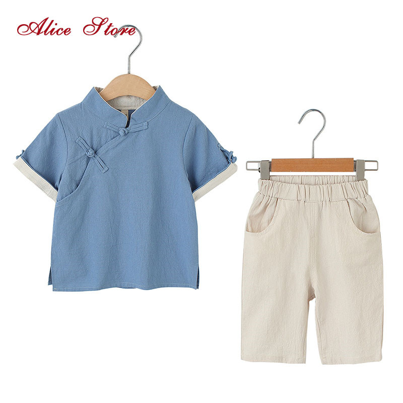 1ffb09179e Chinese style children s clothing sets boys cotton and linen Hanfu summer  solid short sleeve suit kids plate buckle clothes-in Clothing Sets from  Mother ...