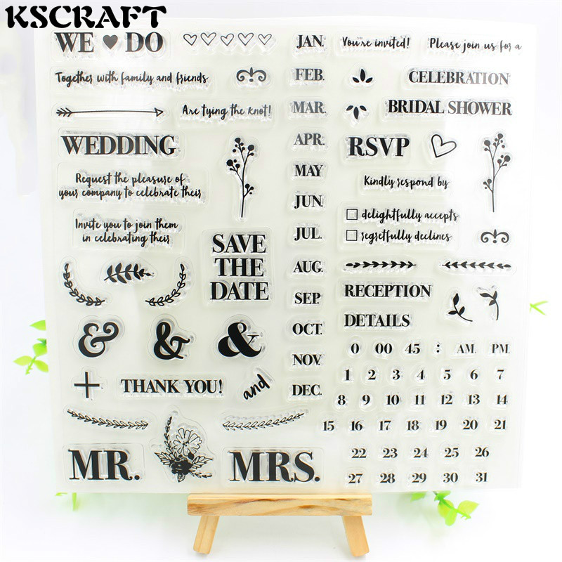 1 Sheet Save The Date Transparent Clear Silicone Stamps for DIY Scrapbooking/Card Making/Kids Fun Decoration Supplies Flower