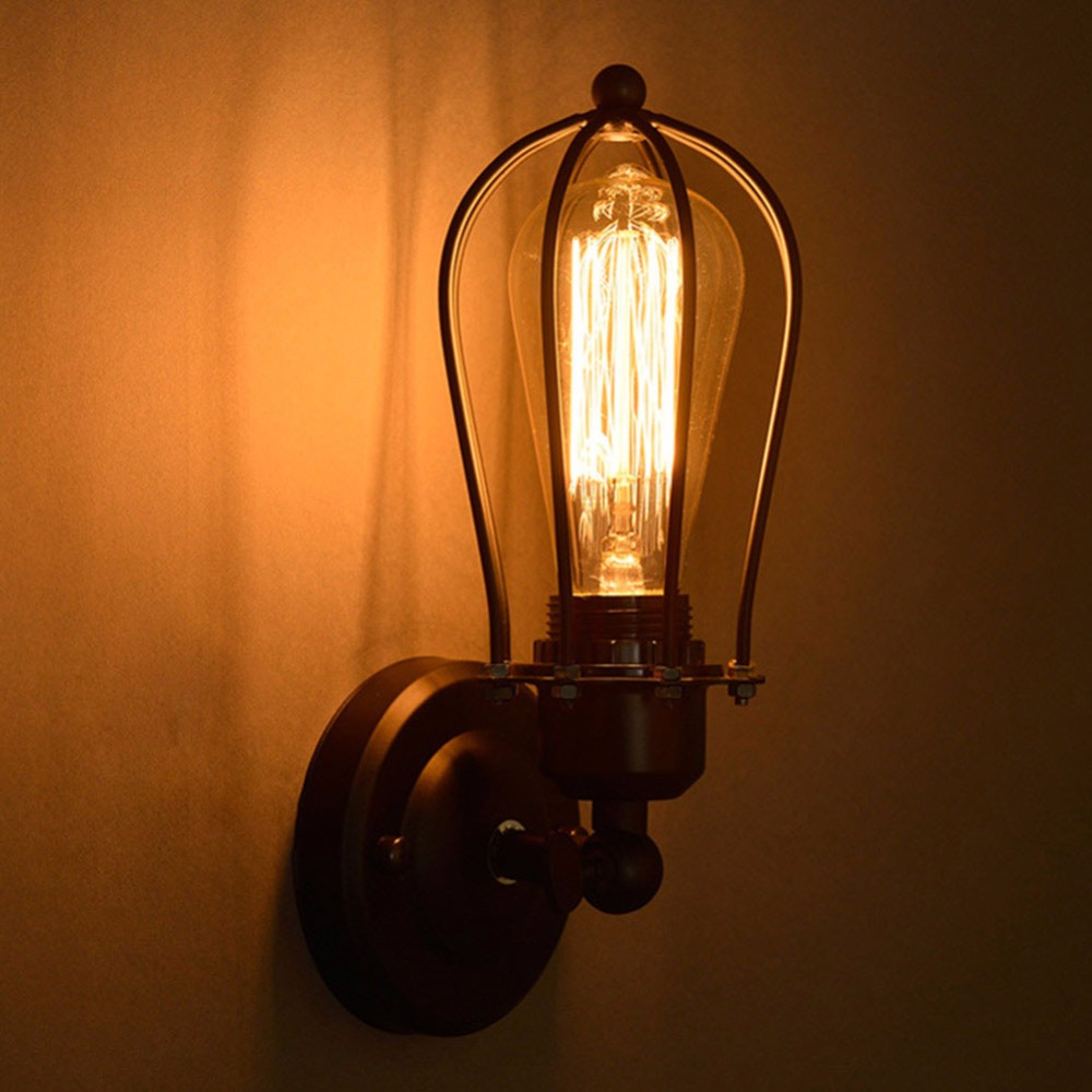 Nordic Retro Wall Lamp Bedside Light Wrought Iron Lamps Shade American Country Style Restaurant Bar Industrial Warehouse