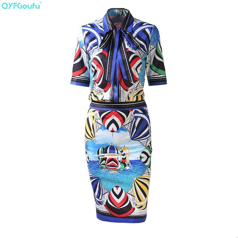 QYFCIOUFU New Fashion Runway Suit Set Women's Short Sleeve Balloon Print Bow Blouse + Vintage Bodycon Mini Skirt 2 Two Piece Set