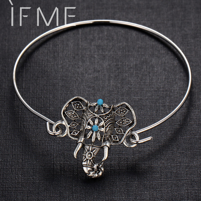 2016 Vintage Elephant Open Bangle Armlet Indian Jewelry Antique Bracelet  Bohemian Beach Boho Turquoise Bracelet for Women
