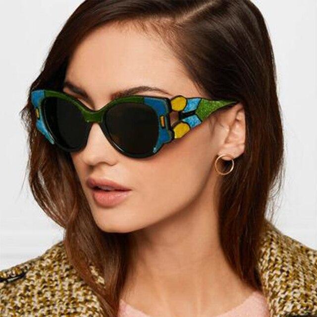 6a39f32be6 Color Block Cat Eye Sunglasses Women Colorful Frame Vintage Retro Sun  Glasses Luxury Brand 2018 New Designer Lunettes Femme