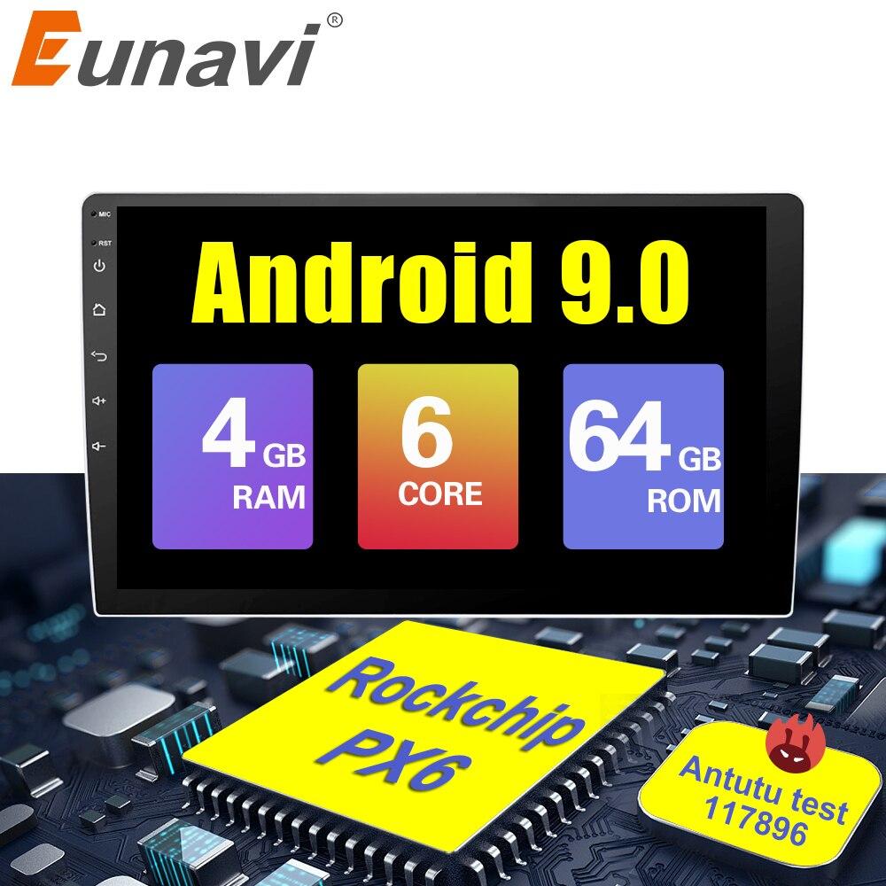 Eunavi 2 Din 10.2'' 6 core Universal Android 9.0 4GB RAM Car Radio Stereo GPS Navigation WiFi 1024*600 2din Car PC