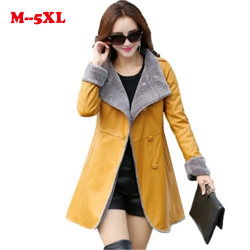 high quality 100% 2018 New Winter Women PU   leather   Jacket long sleeved Faux PU Jacket Fashion Women Outerwear Tops Warm Jacket
