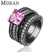 MDEAN Negro plateó Los Anillos para las mujeres anillo de La Vendimia establece pink wedding engagement Mujeres anillos de piedra CZ diamond Joyería MSR116