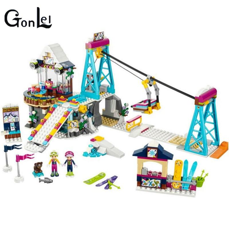 (GonLeI) 01042 632pcs Girl Friends Snow Resort Ski Lift Building Block Compatible 41324 Brick Toy цена и фото