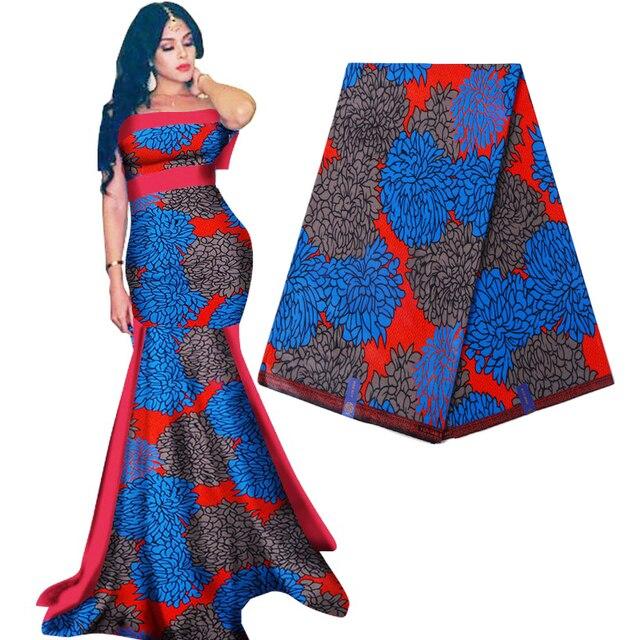 Royal Real Cloth Wax Tissu 100% Cotton High Quality Africa Ankara Prints Batik Fabric Sewing Material For Wedding Dress 6yards
