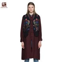 Jiqiuguer Women Black Pleated Patchwork Casual Plants Embroidery Autumn Open Stitch Spliced V-Neck Ramie Short Vest G173Y016