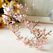 Himstory Handmade Sweet Pink Round Flower Tiara Crowns Branch Bridal Wedding Diadema Hair Tiaras Decoration Accessories