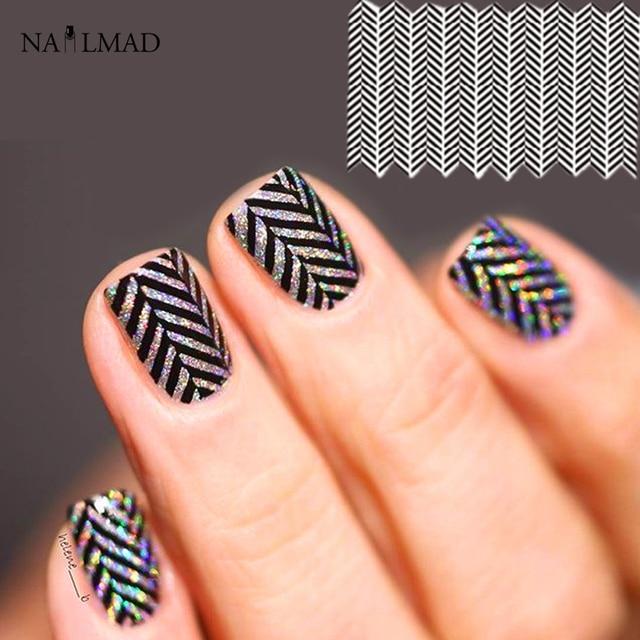 1 Sheet Watermarble Nail Art Water Decals Zwart Marmer Nail Transfer