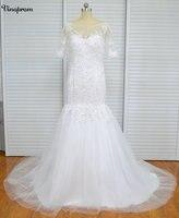 New Arrival Ruched Tulle Mermaid Wedding Dress Zipper Up White Ivory Marry Dresses Bridal Dresses Hot Sale Vestido De Festa Curt
