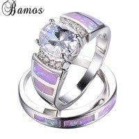 Bamos רומנטי ורוד אש אופל טבעת סט לנשים ליידי הלבן גולדפילד תכשיטי אהבה הלבן זירקון טבעת מסיבת חתונה RW1383