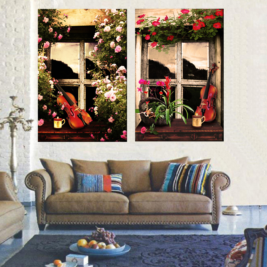 Flowers and cello modern paintings best seller canvas art pictures ...