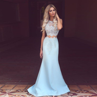 Modest Two Pieces Lace Satin Porm Gowns Gorgeous Mermaid Dress Sleeveless Floor Length Ruffles Formal Party Dresses Custom Made