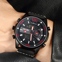 New Men 2019 Tech Sports Watch TOP Quality KADEMAN Digital Watch 3ATM LED Display Casual Leather Wristwatches World Time Relogio