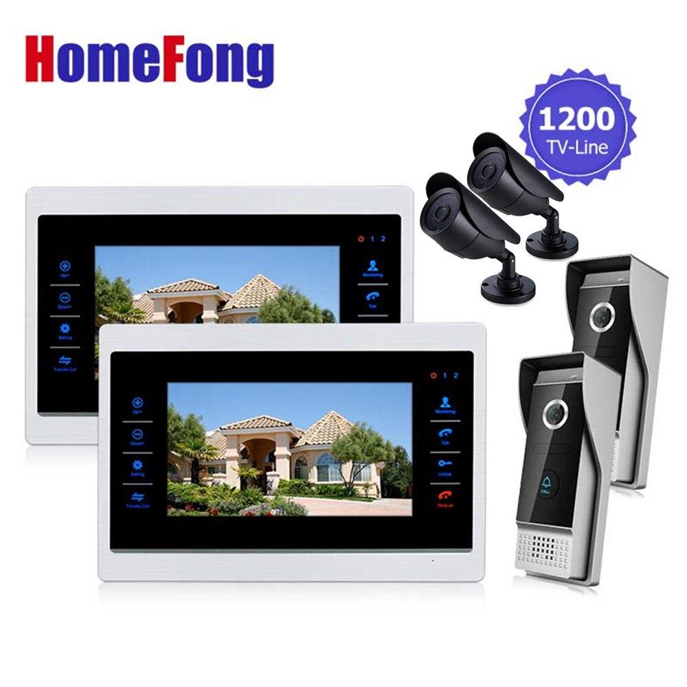 Ysecu двери видеокамера видео дверной звонок система с камеры обскуры 4 3.6 мм объектив безопасности 1200TVL 2V2V2 главная квартира комплект