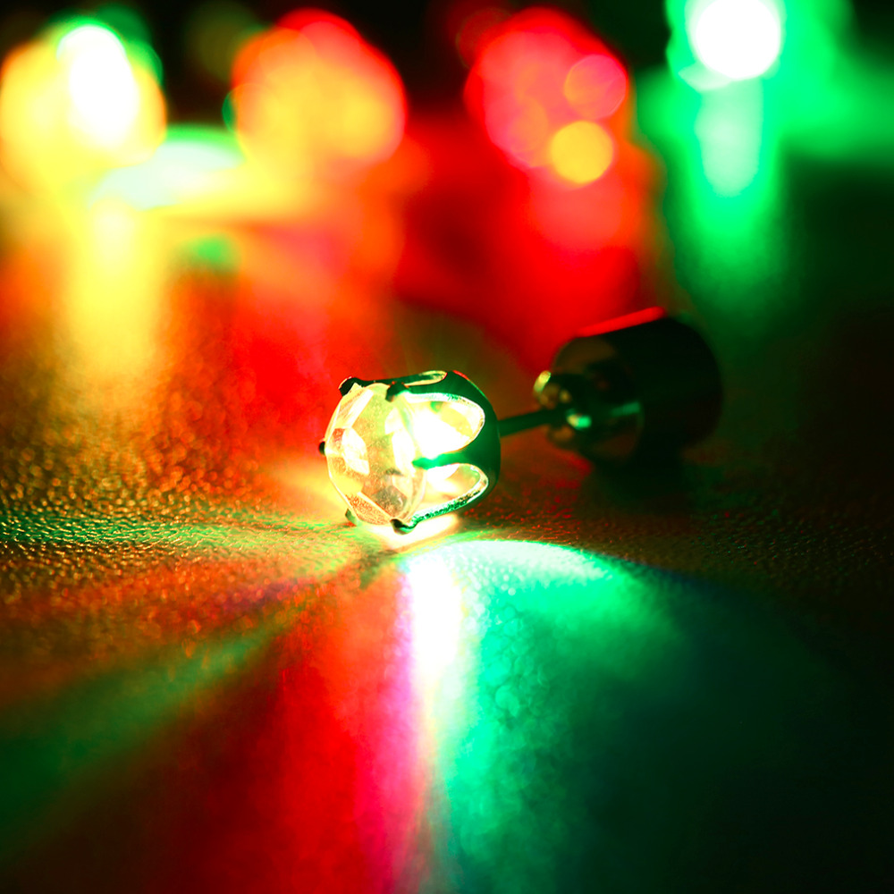 Details About 1 Pair Crystal Led Earring Light Up Bright Stud Earrings 7 Color Glowing