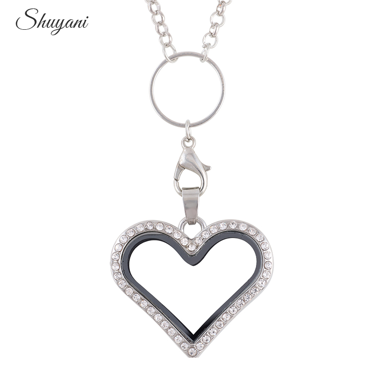 2016 Floating Heart Locket Pendant Necklace Jewelry Rhinestone Magent Glass Living Memory Heart Locket Free Chains