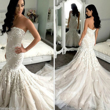 kejiadian 2019 White Mermaid Wedding Dresses Sweep Train