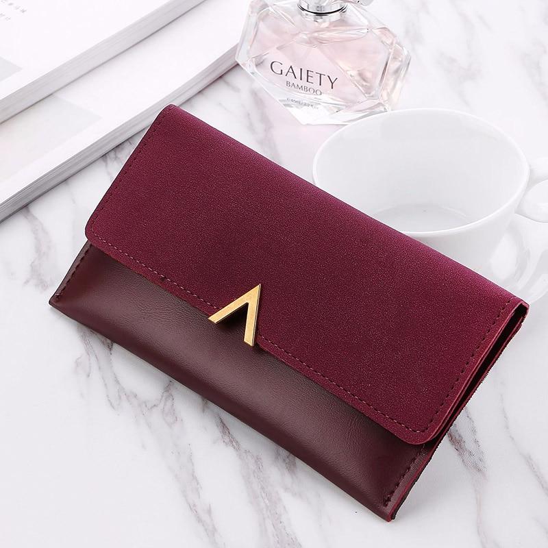 New Matte PU Leather Women Wallet Luxury Brand Famous Purse Long Design Hasp Clutch Money Coin Purse Card Holder Female Wallet Кошелёк