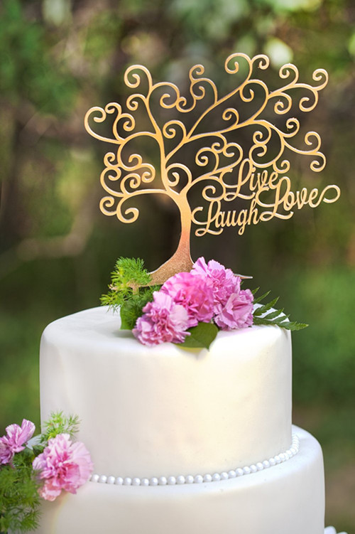 gold wedding cake topper ideas aliexpress buy quot live laugh quot tree shape mirror 14835