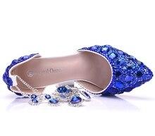 Women Blue Rhinestone Crystal Wedding Shoes Graduation Party Prom Nightclub Evening Bridal Sandals High Heel