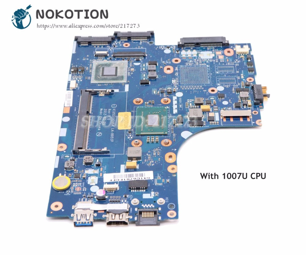 NOKOTION VIUS3 VIUS4 LA-8951P Main Board For Lenovo Ideapad S300 S400 Laptop Motherboard SLJ8C SR109 Celeron 1007U CPU haggard h r queen sheba s ring