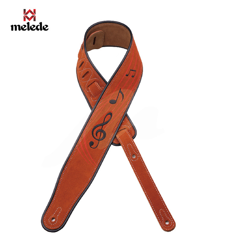 High grade brown embroidered leather guitar strap Personality cross shoulder strap Silicone edging wear guitar accessories